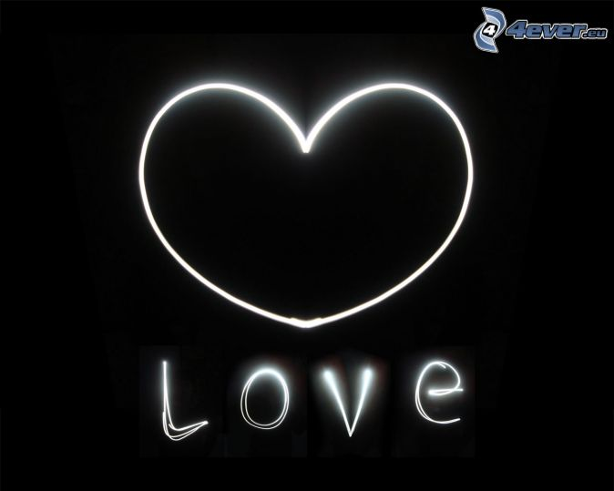 cœur, love, lightpainting, noir et blanc