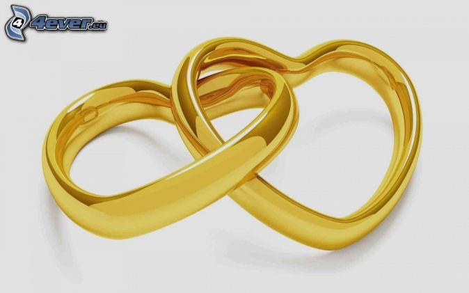 cœurs , en or , anneaux de mariage