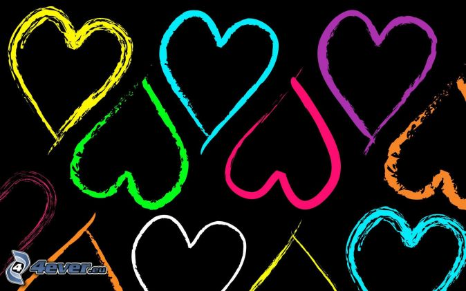 cœurs, fond noir