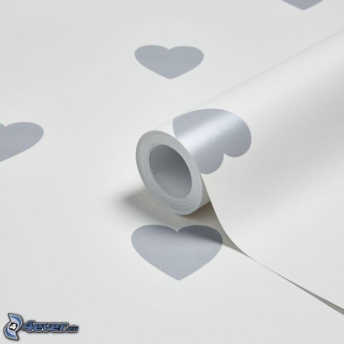 cœurs, papier peint