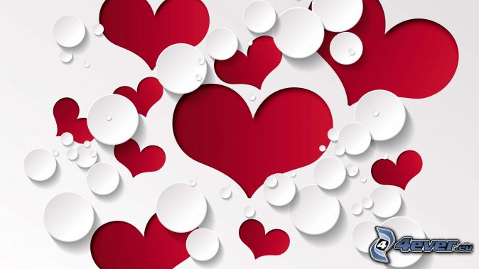 coeurs rouges, cercles