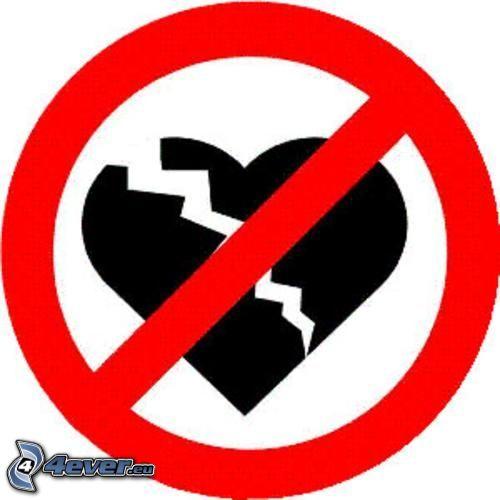 Interdiction - Dessin de coeur brise ...