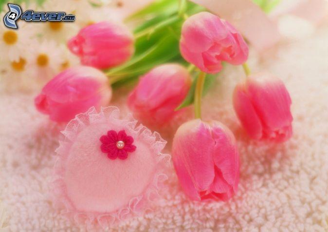 tulipes roses, cœur rose