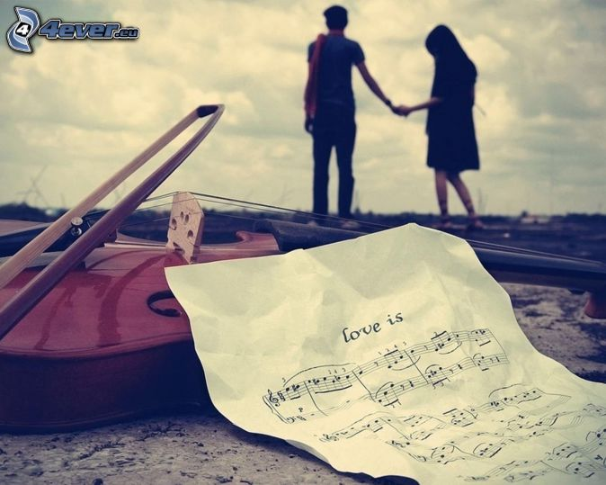 couple, main dans la main, notes, love, violon
