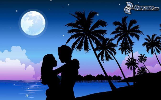 silhouette du couple, palmiers, lune, mer, maisons sur l'eau, dessin animé