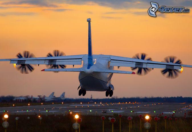 avion, atterrissage, lever du soleil