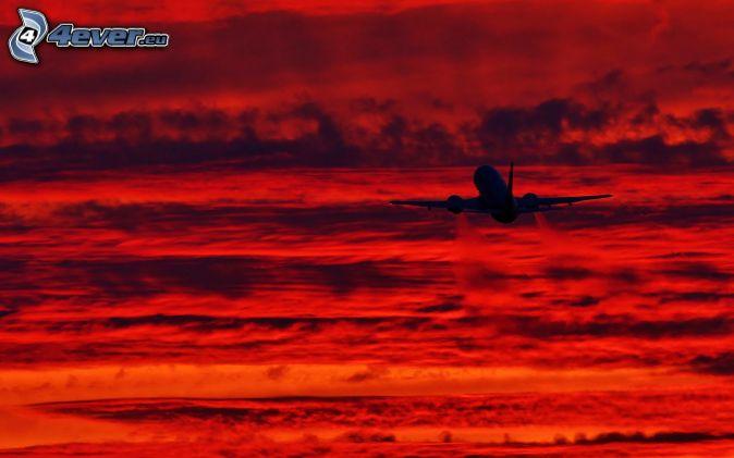 avion, au-dessus des nuages, nuages oranges
