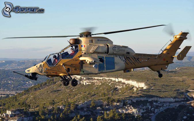 hélicoptère, colline rocheuse