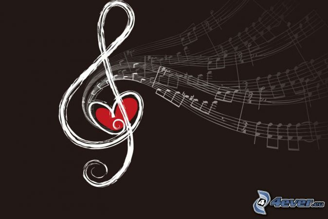 clef, notes, cœur, fond brun, dessin animé