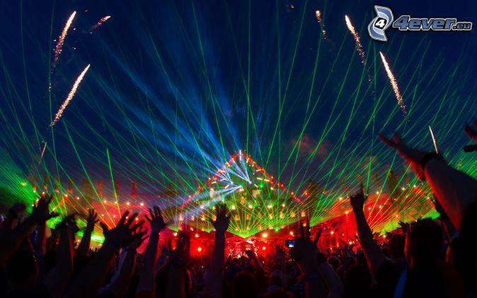 concert, foule, fans, mains, lumières