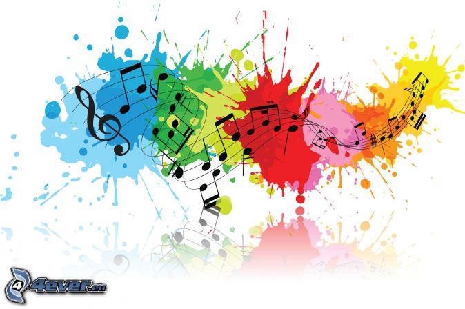 music, notes, clef, macules colorées