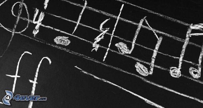 notes, clef, tableau noir