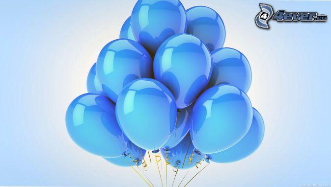 ballons, fond bleu