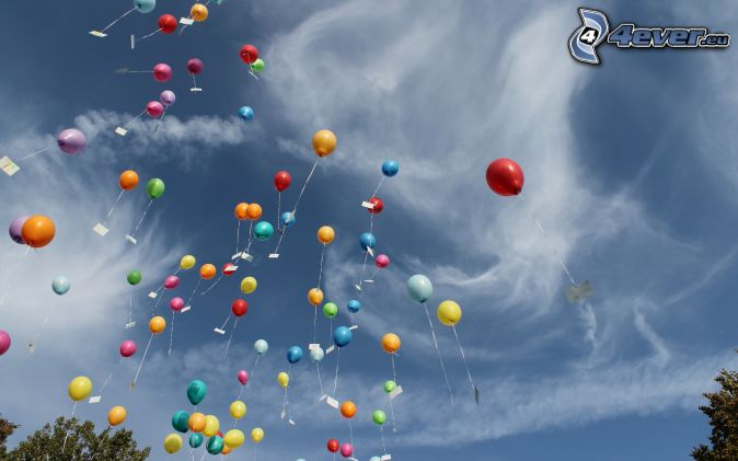 ballons, nuages