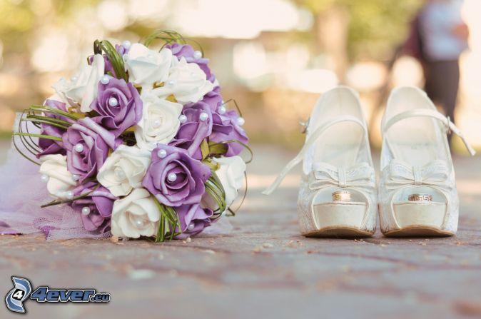 bouquet de mariage , anneaux de mariage , Chaussures aux hautes talons