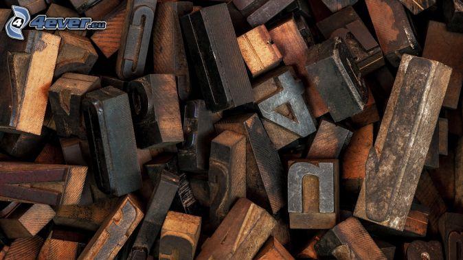 lettres, numéros, cubes de bois