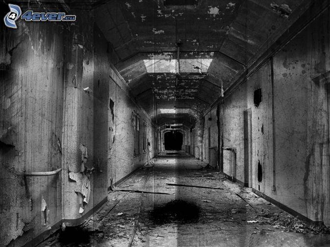 Vieux b timent - Couloir noir et blanc ...
