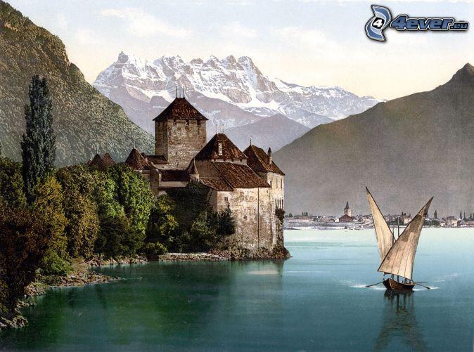 château de Chillon, navires, rivière, montagne