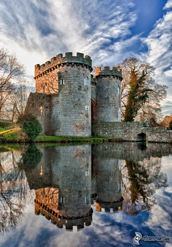 Ross château, rivière, reflexion, HDR