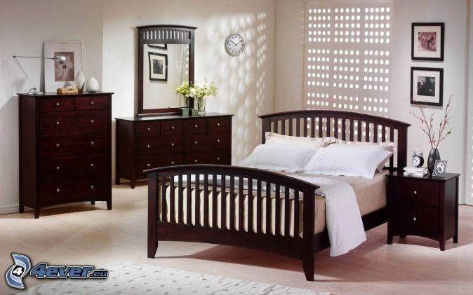chambre à coucher , grand lit , armoires , chevet , miroir