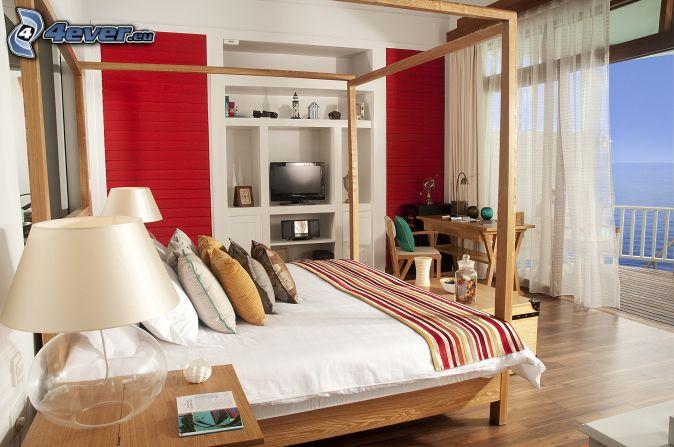 chambre à coucher , grand lit , lampe , fenêtre