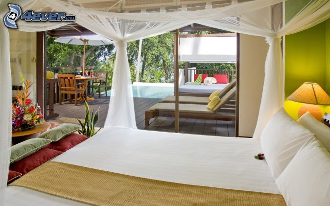 chambre à coucher , grand lit , lits , piscine , terrasse