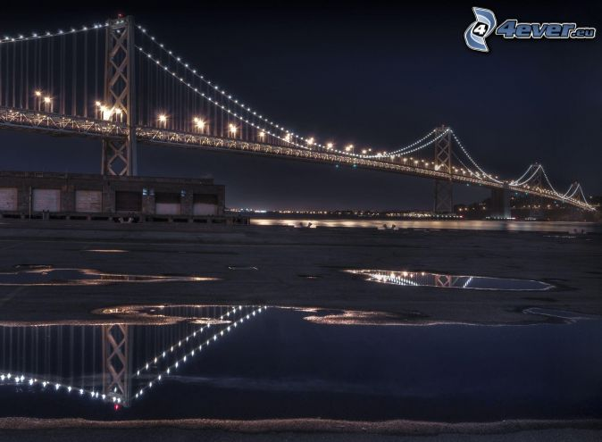 Bay Bridge, pont illuminé, nuit