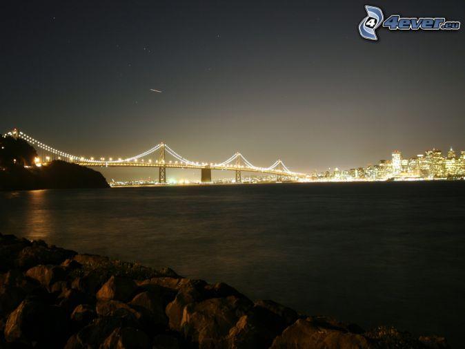 Bay Bridge, San Francisco, pont illuminé, rivière, nuit