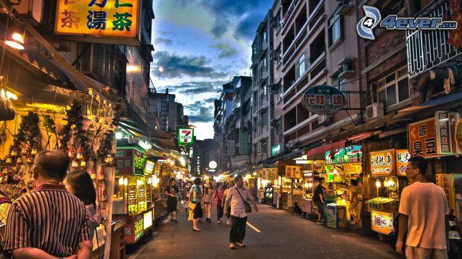 le marché, rue, ville de nuit