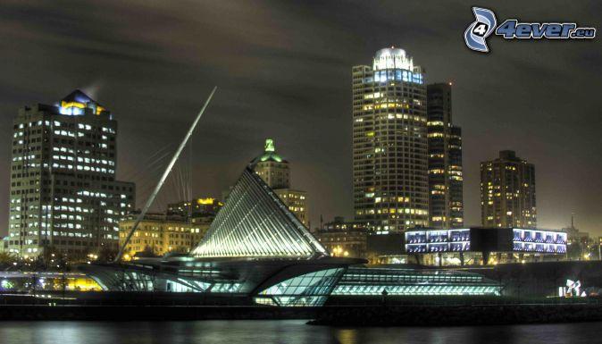 Milwaukee, Milwaukee Art Museum, ville dans la nuit