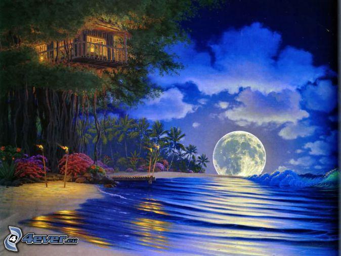 lune, mer, nuit, maison sur l'arbre