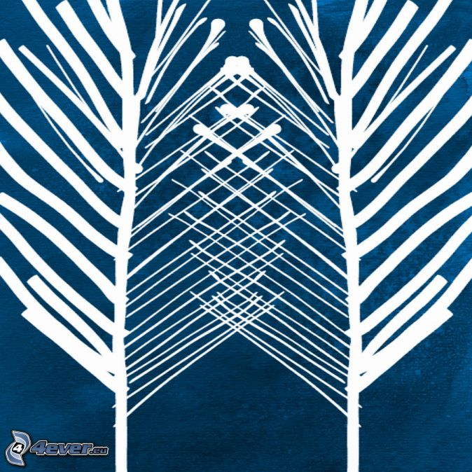 arbres, fond bleu