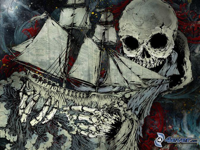 la voile, crâne, mort