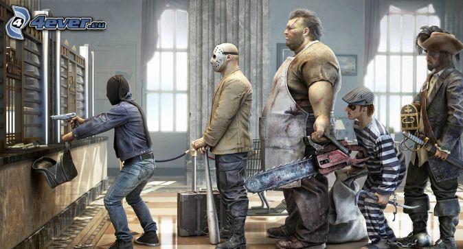 assaut, Banque, homme avec un fusil, voleurs