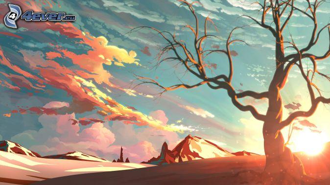 arbre, coucher du soleil, colline, nuages