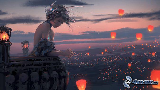 fille, tristesse, balcon, lanternes, de chance