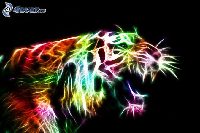 tiger fractal cats e - photo #17