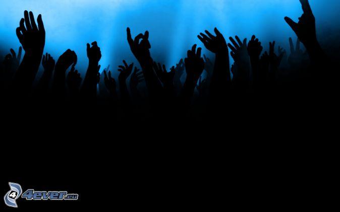 foule, fans, mains