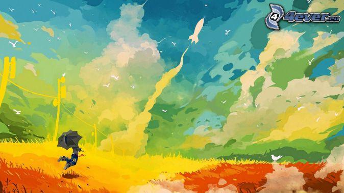Homme avec le parapluie, fond de couleur, nuages