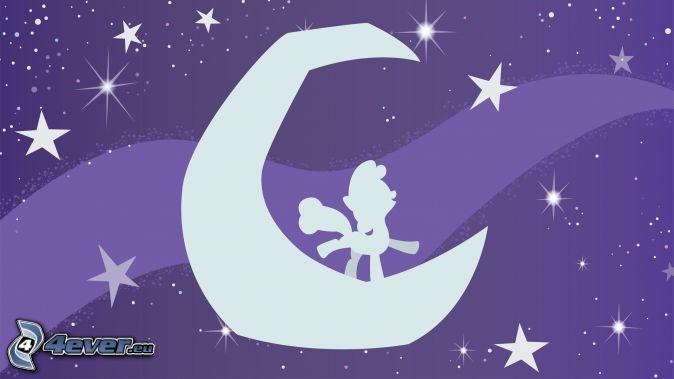 poney, lune, étoiles