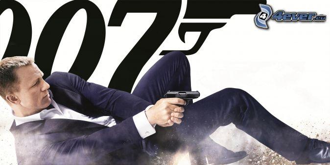 Daniel Craig, James Bond, homme avec un fusil