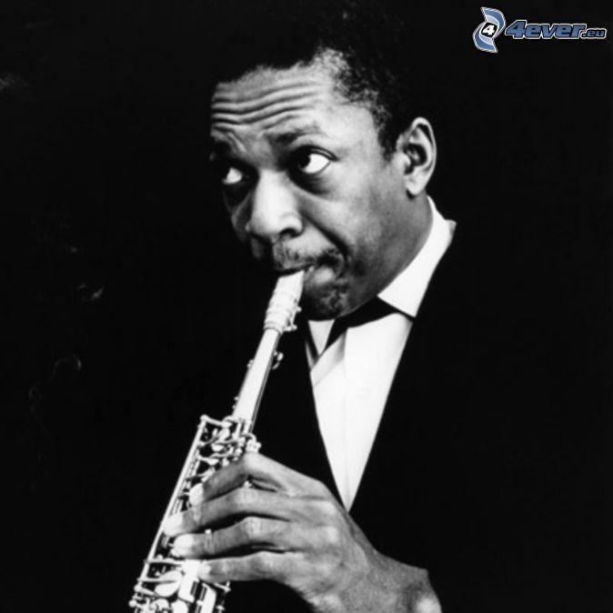John Coltrane, saxophoniste, photo noir et blanc