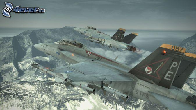 Ace Combat 6, avions de chasse, montagnes rocheuses