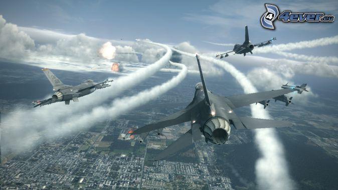 Ace Combat 6, avions de chasse, tir, vue sur la ville