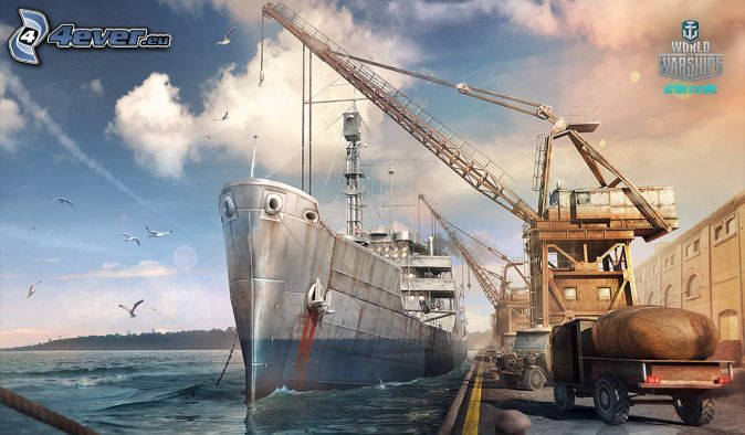 World of Warships, navire, port