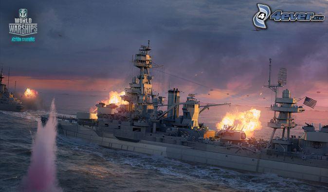 World of Warships, navires, tir, avions