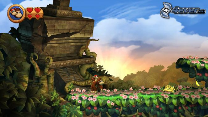 Donkey Kong Country Returns, gorille, vieux bâtiment