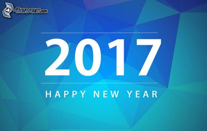 2017, heureuse nouvelle année, happy new year, triangle, fond bleu