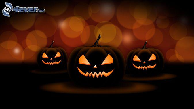 Citrouilles d'Halloween, cercles, dessin animé