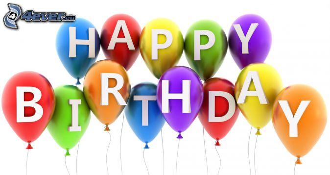 Happy Birthday, ballons, anniversaire